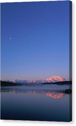 Usa, Alaska, Mount Mckinley As Seen From Wonder Lake After Sunrise Canvas Print by Paul Souders