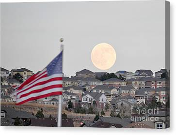 Usa Flag And Moon Canvas Print by Cheryl McClure
