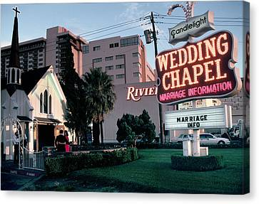 Usa, Las Vegas, Neon Sigh Outside Wedding Chapel Canvas Print by Jonathan Olley