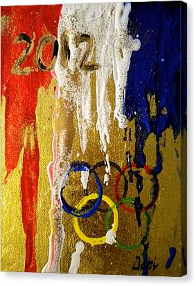 Usa Strives For The Gold Canvas Print by Debi Starr