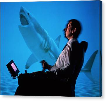 User In Reality Centre Simulator (underwater Set) Canvas Print by David Parker