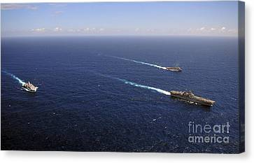 Uss Boxer, Uss Comstock And Uss Green Canvas Print by Stocktrek Images