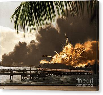 U S S Shaw Pearl Harbor December 7 1941 Canvas Print by Photo Researchers
