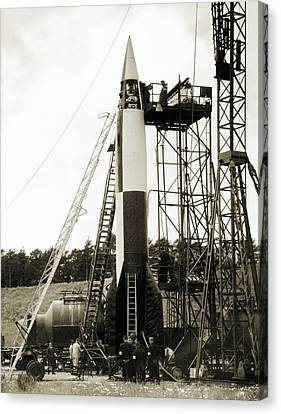 V-2 Prototype Rocket Prior To Launch Canvas Print by Detlev Van Ravenswaay
