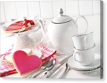 Valentine Cookies With Teapot And Cups Canvas Print by Sandra Cunningham