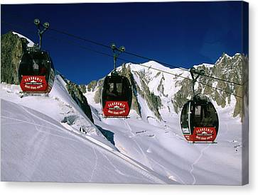 Valle Blanche Aerial Tramway Cabins, Rhone-alpes, France, Europe Canvas Print by John Elk III