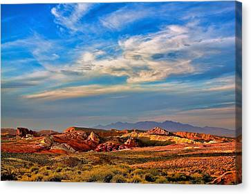 Canvas Print featuring the photograph Valley Of Fire Sunset by Joe Urbz