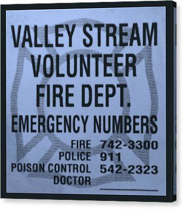 Valley Stream Fire Department In Cyan Canvas Print by Rob Hans