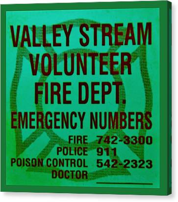Valley Stream Fire Department In Irish Green Canvas Print by Rob Hans