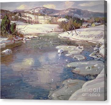 Valley Stream In Winter Canvas Print by George Gardner Symons