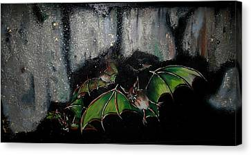 Canvas Print featuring the painting Vampire Bats  by Nada Meeks