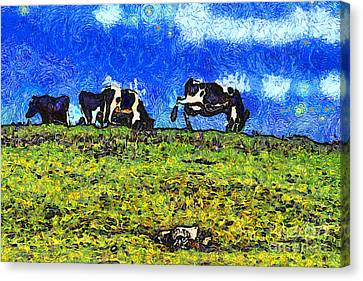 Van Gogh Goes Cow Tipping 7d3290 Canvas Print by Wingsdomain Art and Photography