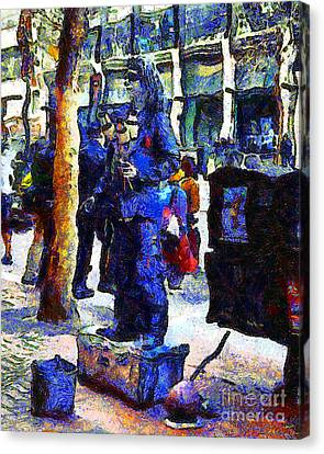 Van Gogh Is Captivated By A San Francisco Street Performer . 7d7246 Canvas Print by Wingsdomain Art and Photography