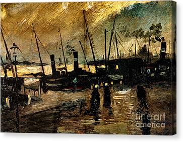 Van Gogh Le Quai Huile Sur Toile 1885  Canvas Print by Pg Reproductions