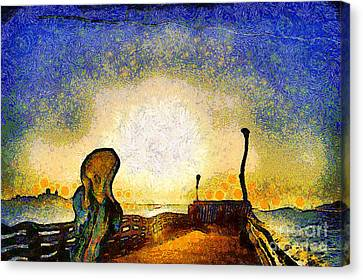 The Scream Canvas Print - Van Gogh Screams On The Berkeley Pier Under A Starry Night . Img3188 by Wingsdomain Art and Photography