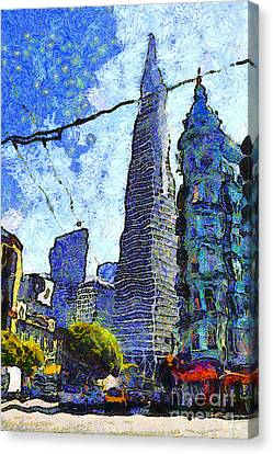 Van Gogh Sips Absinthe And Takes In The Views From North Beach In San Francisco . 7d7431 Canvas Print by Wingsdomain Art and Photography