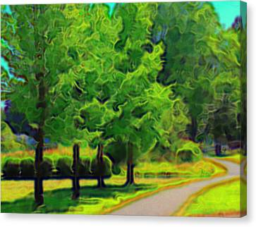Canvas Print featuring the mixed media Van Gogh Trees by Terence Morrissey