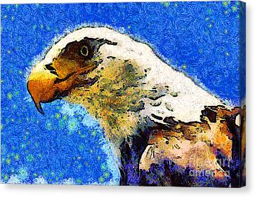 Van Gogh.s American Eagle Under A Starry Night . 40d6715 Canvas Print by Wingsdomain Art and Photography