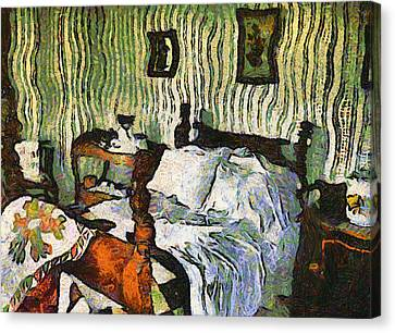 Canvas Print featuring the painting Van Gogh's Bedroom by Mario Carini