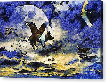 Pigs Canvas Print - Van Gogh.s Flying Pig 2 by Wingsdomain Art and Photography