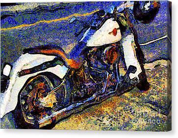 Van Gogh.s Harley-davidson 7d12757 Canvas Print by Wingsdomain Art and Photography