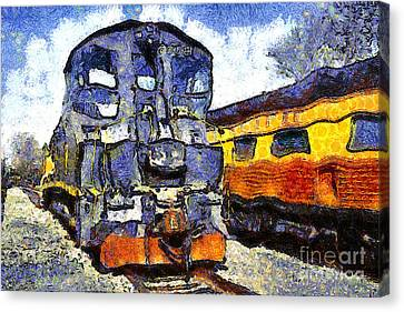 Van Gogh.s Locomotive . 7d11588 Canvas Print by Wingsdomain Art and Photography