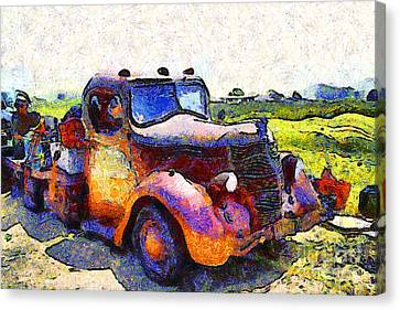 Van Gogh.s Rusty Old Jalopy . 7d15500 Canvas Print by Wingsdomain Art and Photography