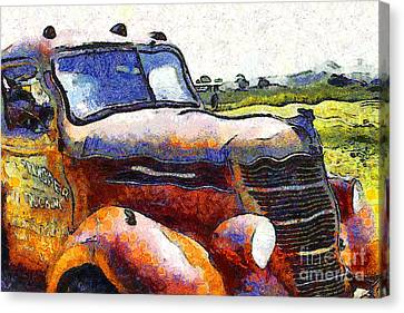 Van Gogh.s Rusty Old Truck . 7d15509 Canvas Print by Wingsdomain Art and Photography