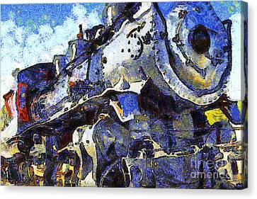 Van Gogh.s Steam Locomotive . 7d12980 Canvas Print by Wingsdomain Art and Photography