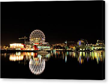 Vancouver By Night Canvas Print by Long Nguyen