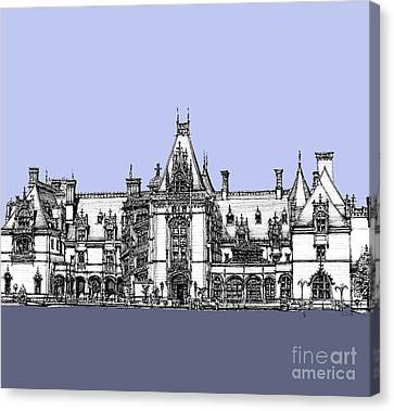 Vanderbilt's Biltmore Estate In Blue  Canvas Print by Building  Art
