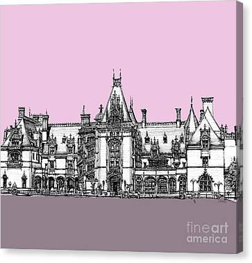 Vanderbilt's Biltmore House In Pink Canvas Print by Building  Art