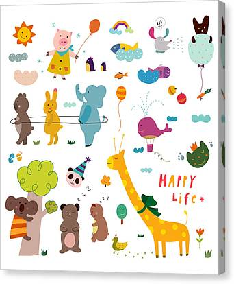 Various Animals Canvas Print by Eastnine Inc.
