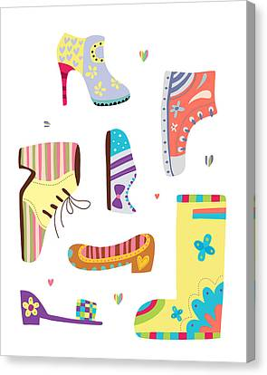 Various Kinds Of Shoes Canvas Print