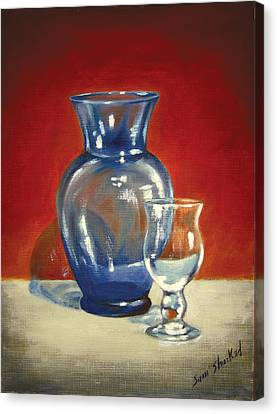 Vase N Glass Goblet Canvas Print by Sam Shacked