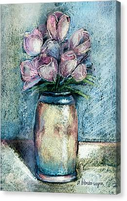 Vase Of Pink Tulips Canvas Print by Arline Wagner