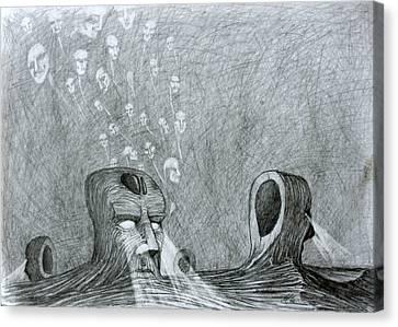Canvas Print featuring the drawing Vault Of Souls by Mariusz Zawadzki