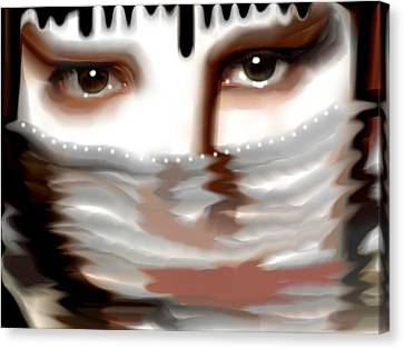 Canvas Print featuring the painting Veiled Sadness by Susan  Solak