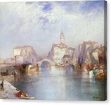 Venetian Canal Canvas Print by Thomas Moran