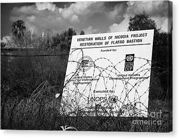venetian walls restoration project in the UN buffer zone in the green line dividing nicosia cyprus Canvas Print by Joe Fox