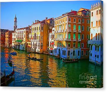 Venice - Central Canal Canvas Print by Jerry L Barrett