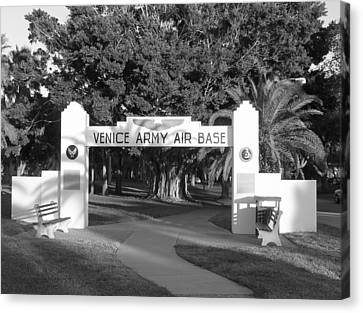 Venice Army Air Base Entrance Canvas Print by John Myers