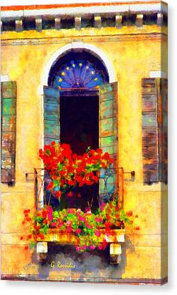 Venice Balcony Canvas Print by George Rossidis