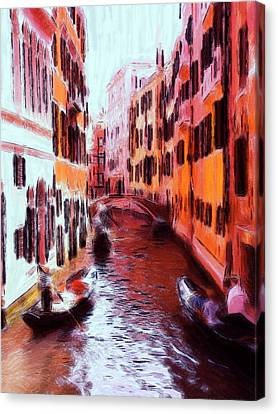 Venice By Gondola Canvas Print by Steve K