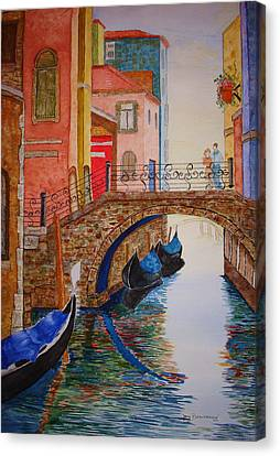 Canvas Print featuring the painting Venice Canal by Joy Braverman