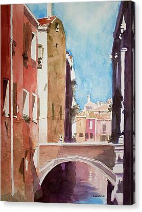 Canvas Print featuring the painting Venice Canal by Richard Willows