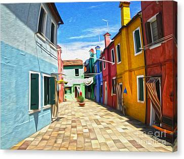 Venice Italy - Burano Island Alley Canvas Print by Gregory Dyer