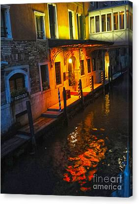Venice Italy - Canal At Night Canvas Print by Gregory Dyer