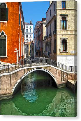Venice Italy - Canal Bridge Canvas Print by Gregory Dyer
