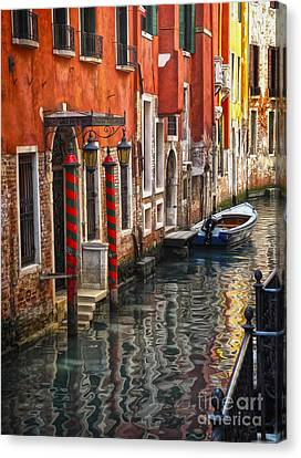 Venice Italy - Quiet Canal Canvas Print by Gregory Dyer